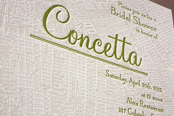 Concetta: Liberty View {custom} bridal shower invitation letterpress printed in willow and custom color, printed on ecru paper