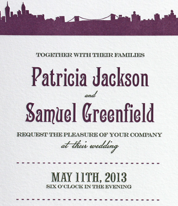 Patricia and Samuel: Riverside Drive letterpress printed in moss and eggplant inks