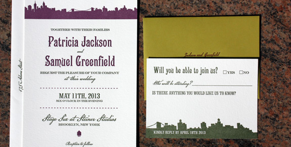 Patricia and Samuel: Riverside Drive letterpress printed in moss and eggplant inks on soft white paper with moss envelope