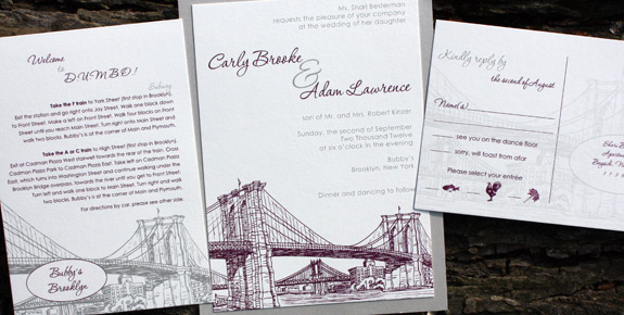 Carly and Adam: Seaport {custom} digitally printed in pewter and eggplant invitation with silver backer and reply postcard