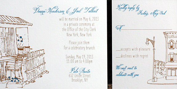 Donna and Joel: Spring Street digitally printed in royal and copper inks