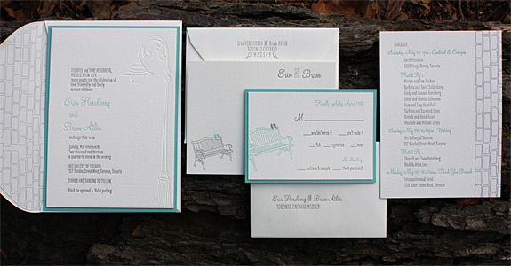 Erin and Bram: York Street {custom} from PostScript Brooklyn letterpress printed in pewter, turquoise and blind emboss with reveal backer