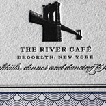 Lauren and Peter: classic letterpress on double thick cotton paper with Brooklyn Bridge silhouette and black and white deco liner