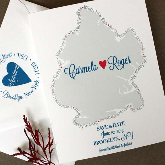Carmela and Roger: custom Brooklyn map save the date with places couple traveled border