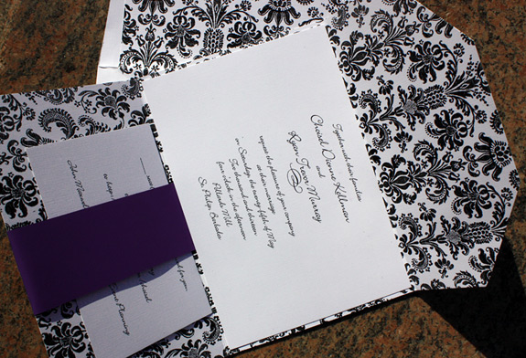 Choisel and Ryan: damask wedding invitation with pocket folder with plum accents