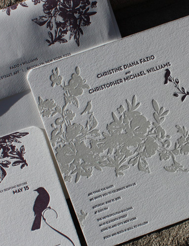 Christine and Christopher: 2 color letterpress invitation with floral and bird motifs and rounded corners