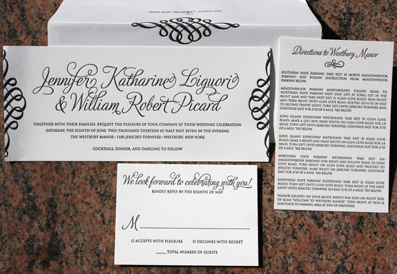 Jennifer and William: invitation letterpress in black ink on #10 card stock
