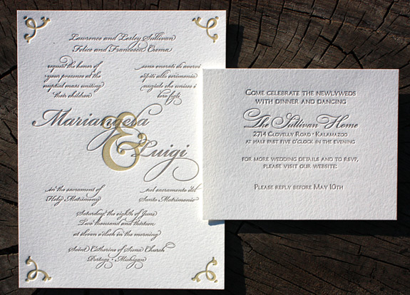 Mariangela and Luigi: custom letterpress design with prominent ampersand design and swirls, in dual language