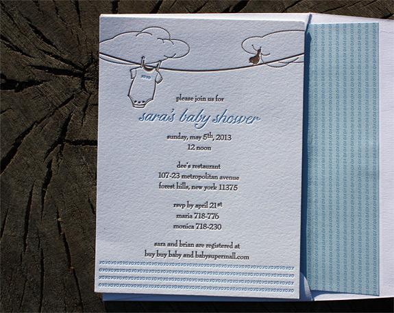 Sara: baby shower invitation letterpressed in two colors with liner