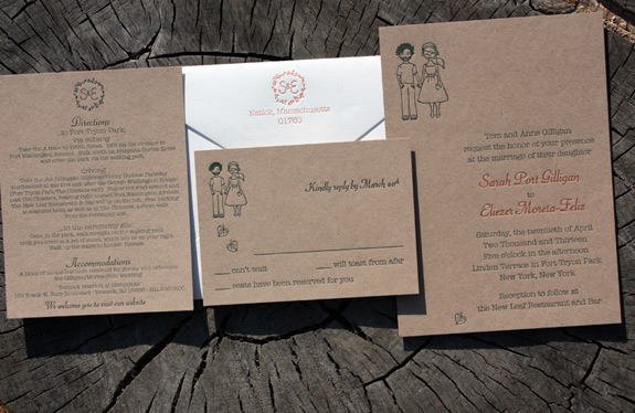 Sarah and Eliezer: custom illustration letterpressed on craft paper