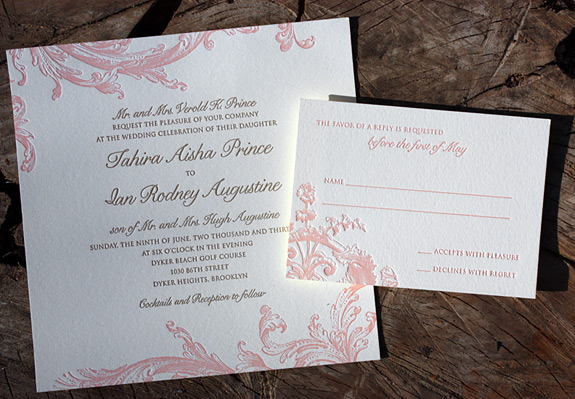 Tahira and Ian: 2 color letterpress invitation