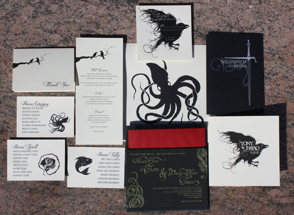 Tony and Hsiao: Game of Thrones themed wedding invitations and day of wedding accessories
