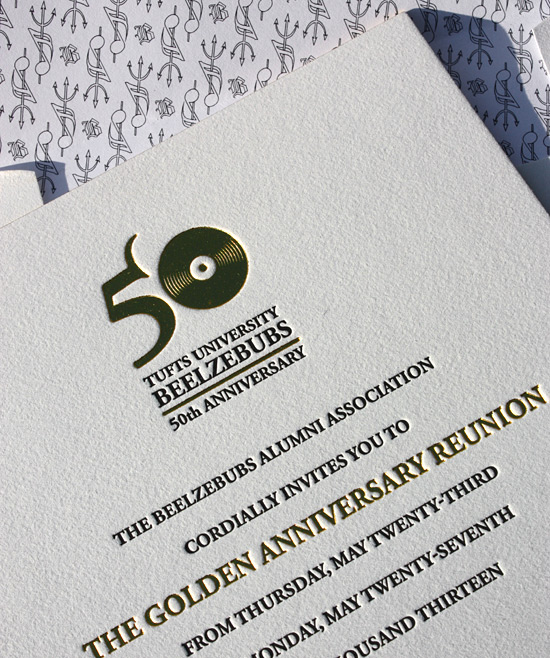 Beelzebubs Alumni Association: Anniversary invitation on 2 ply cotton paper with black letterpress and gold foil printing and gold edging
