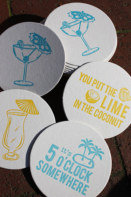 Coaster collections from Haute Papier: tropical drinks