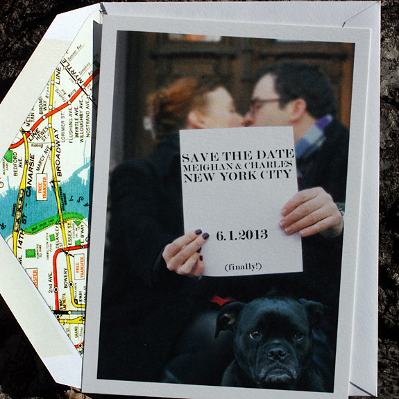Meighan and Charles: photo save the date postcard with NYC subway map liner