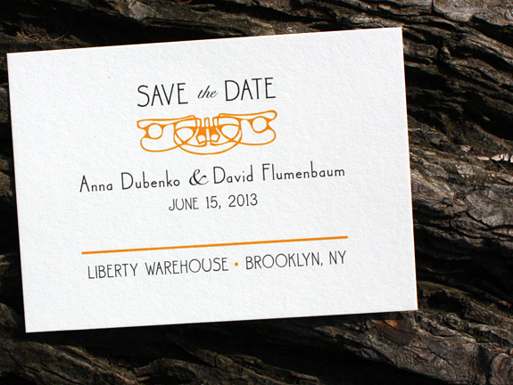 Anna and David: Montgomery Place save the date digitally printed in black and custom color