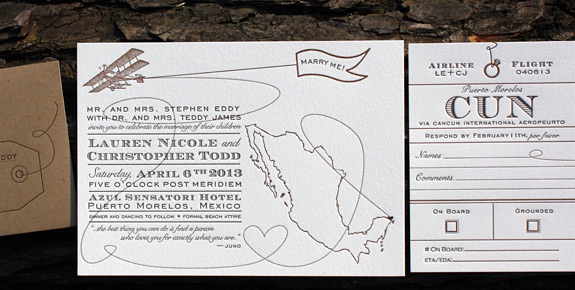 Lauren and Christopher: Come Fly with Me, letterpress printed for Mexico destination wedding in espresso and chocolate with paper bag envelope