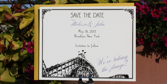 Melissa and John: Coney Island save the date digitally printed in black and lavender inks with curry envelope