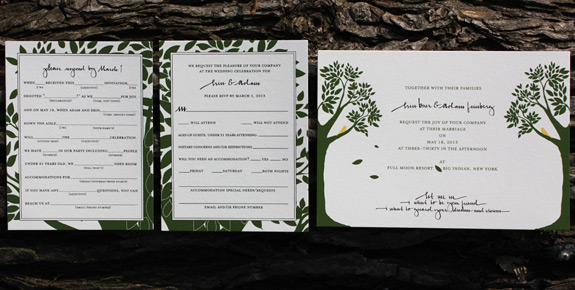 Erin and Adam: Montague Street {custom} digitally printed in moss, black and squash with 2 RSVP versions