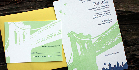 Heidi and Greg: Pineapple Street {custom}, invitation letterpress printed on bright white paper and reply card digitally printed in custom color and navy with squash envelope