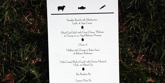 Riverside Drive: menu digitally printed in black ink