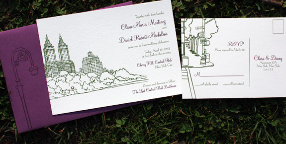 Clara and Daniel: San Remo digitally printed in eggplant and moss inks with beet envelopes
