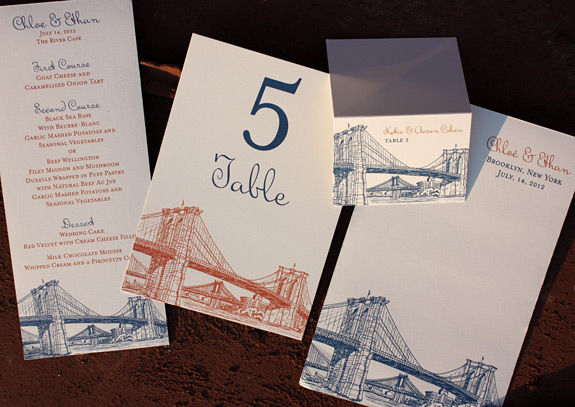 Seaport: menu, table number, place card and program