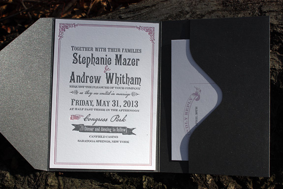 Stephanie and Andrew: Washington Square {custom}, invitation letterpress printed in charcoal and rosé with pocket fold on bright white paper, information card and postcard reply card digitally printed