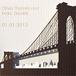 Olivia and Marc: laser cut Brooklyn Bridge trifold with rip off reply card and etched letters