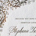 Stephanie and Oliver: foil stamped scroll design