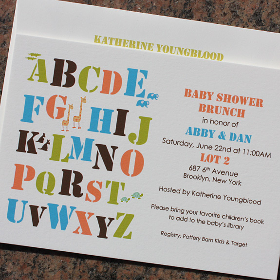 Abby and Dan: sweet multi-colored alphabet baby shower brunch invite
