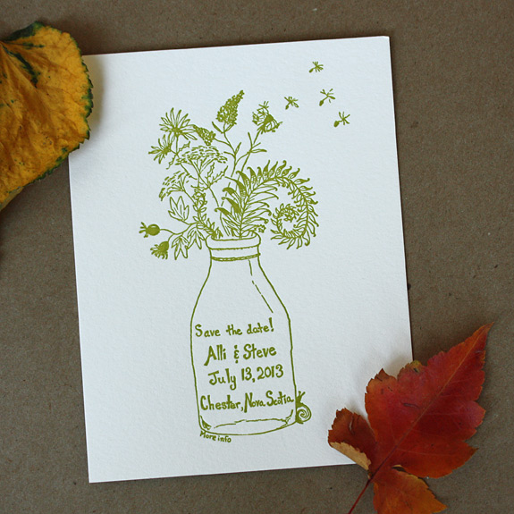 Alli and Steve: letterpress save the date with custom illustration in moss green of wild flowers in mason jar