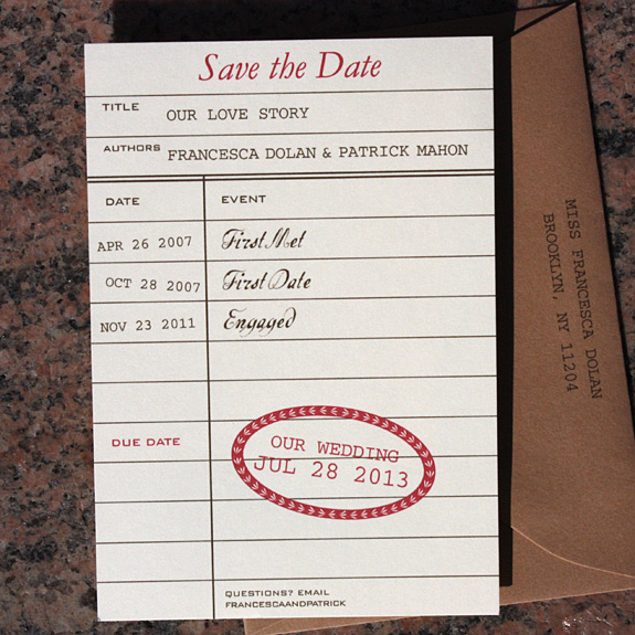 Francesca and Patrick: library card save the date