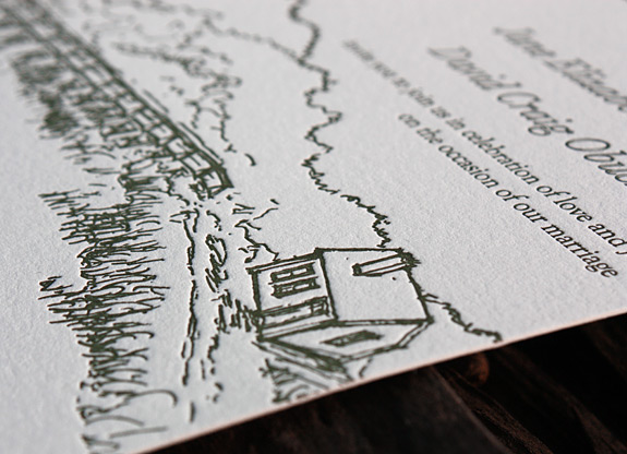 Jane and David: custom letterpress invitation with beach theme