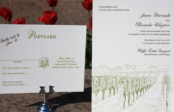 Jenna and Alexander: North Fork, a vineyard themed wedding invitation from PostScript Brooklyn