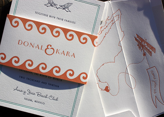 Kara and Donal: festive beach themed letterpressed invitation and map with heart liner