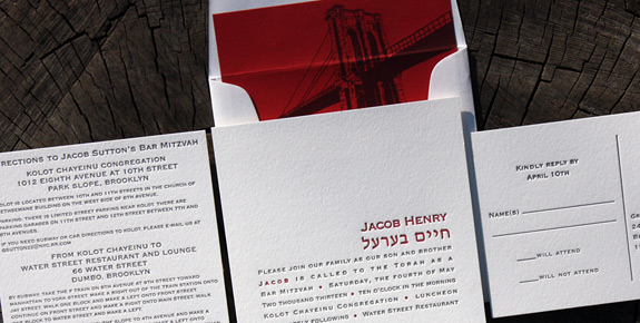 Jacob: Front Street from PostScript Brooklyn, custom Bar Mitzvah invitation letterpressed on square stock with reply postcard and Front Street liner
