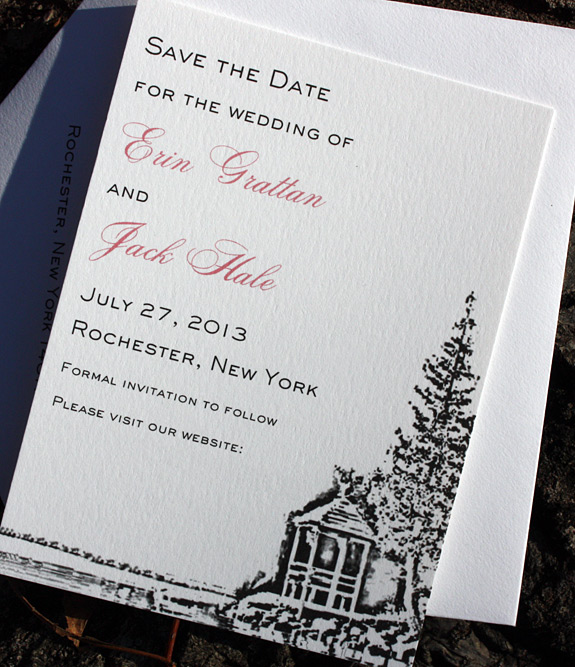 Erin and Jack: 2 color digitally printed save the date