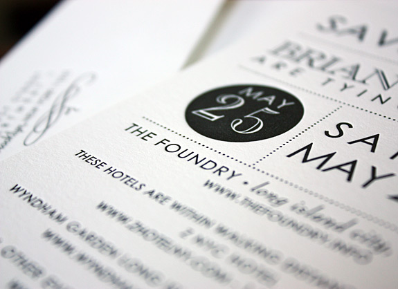 Regina and Brian: letterpress save the date, modern graphic black and white design
