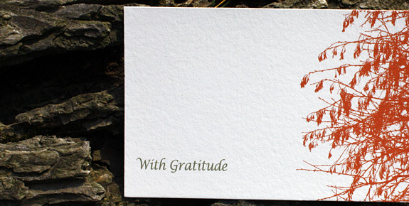 Central Park: thank you card, digitally printed in gold and persimmon inks