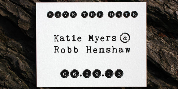 Katie and Robb: Degraw Street save the date postcard, digitally printed in black ink