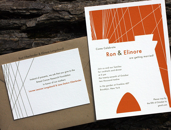 Ron and Elinore: Fulton Street printed in pumpkin and gold inks with paper bag envelope