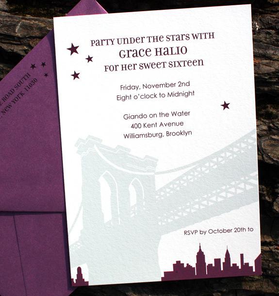 Grace: Pineapple Street Sweet 16 invitation, digitally printed in eggplant and nickel inks with beet envelope