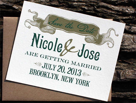 Nicole and Jose: Washington Square save the date, digitally printed in deep green and gold inks