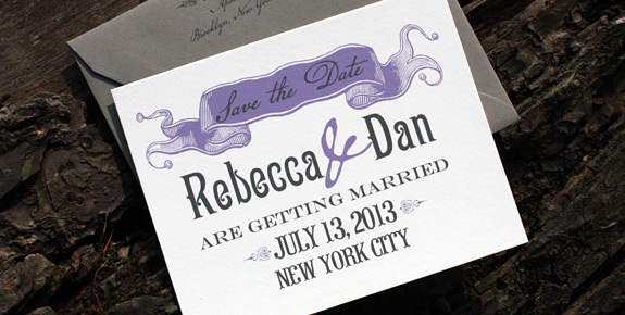 Rebecca and Dan: Washington Square save the date, digitally printed in charcoal and lavender inks