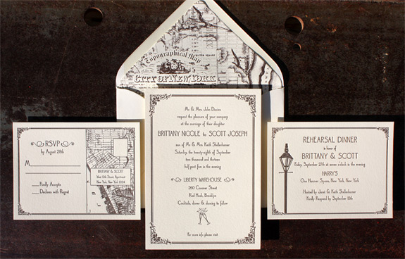 Brittany and Scott: vintage New York City themed letterpressed wedding invitation featuring street lamp, topographical map of the City of New York liner and champagne glasses