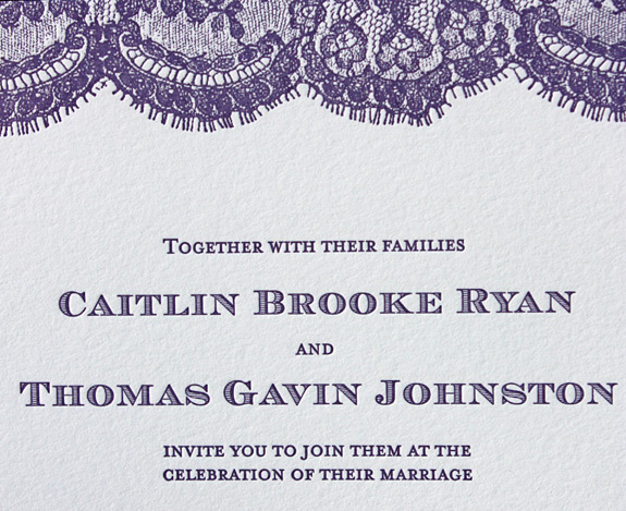 Caitlin and Thomas: Sutton Place from PostScript Brooklyn, letterpress printed in lilac featuring reply postcard and accommodations card