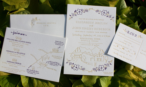 Elizabeth and John: charming 2 color letterpress invitation for farm wedding with custom illustrations and hand drawn map