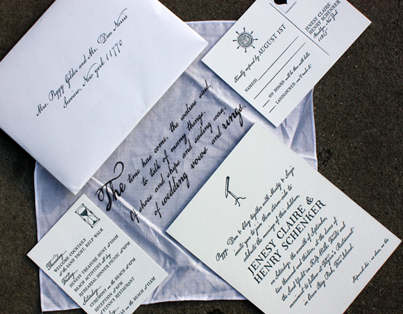 Jenesy and Henry: shipwreck chic-inspired invitation, with custom illustration and calligraphed font, wrapped in printed muslin, letterpressed on double thick paper with backer pattern
