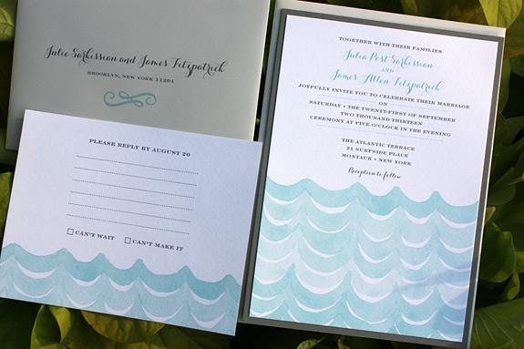 Julia and James: watercolor wave design layered card, flat printed